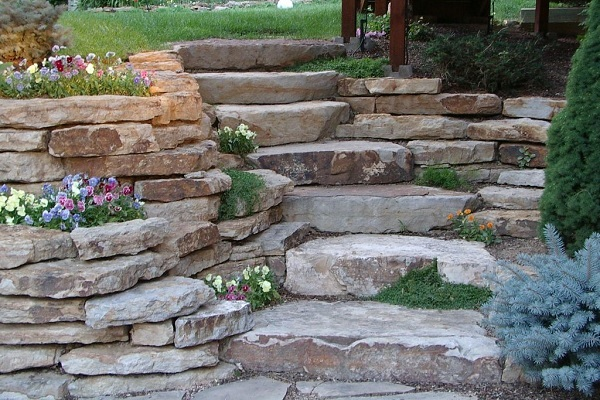 Ledge Rock Steps and Retaining Walls